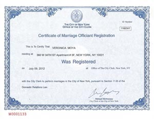 Veronica Moya's Officiant License