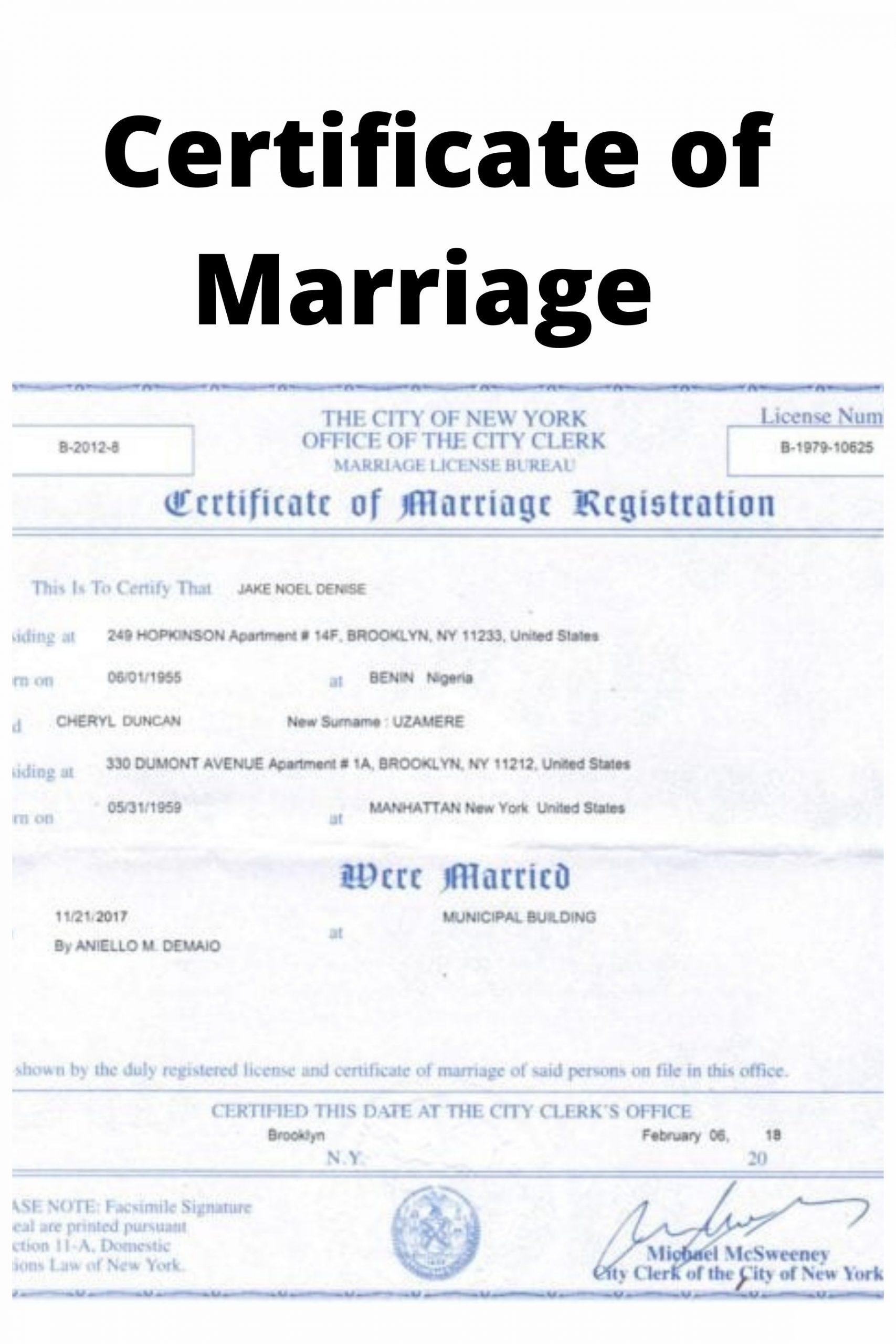 Certificate of Marriage Example