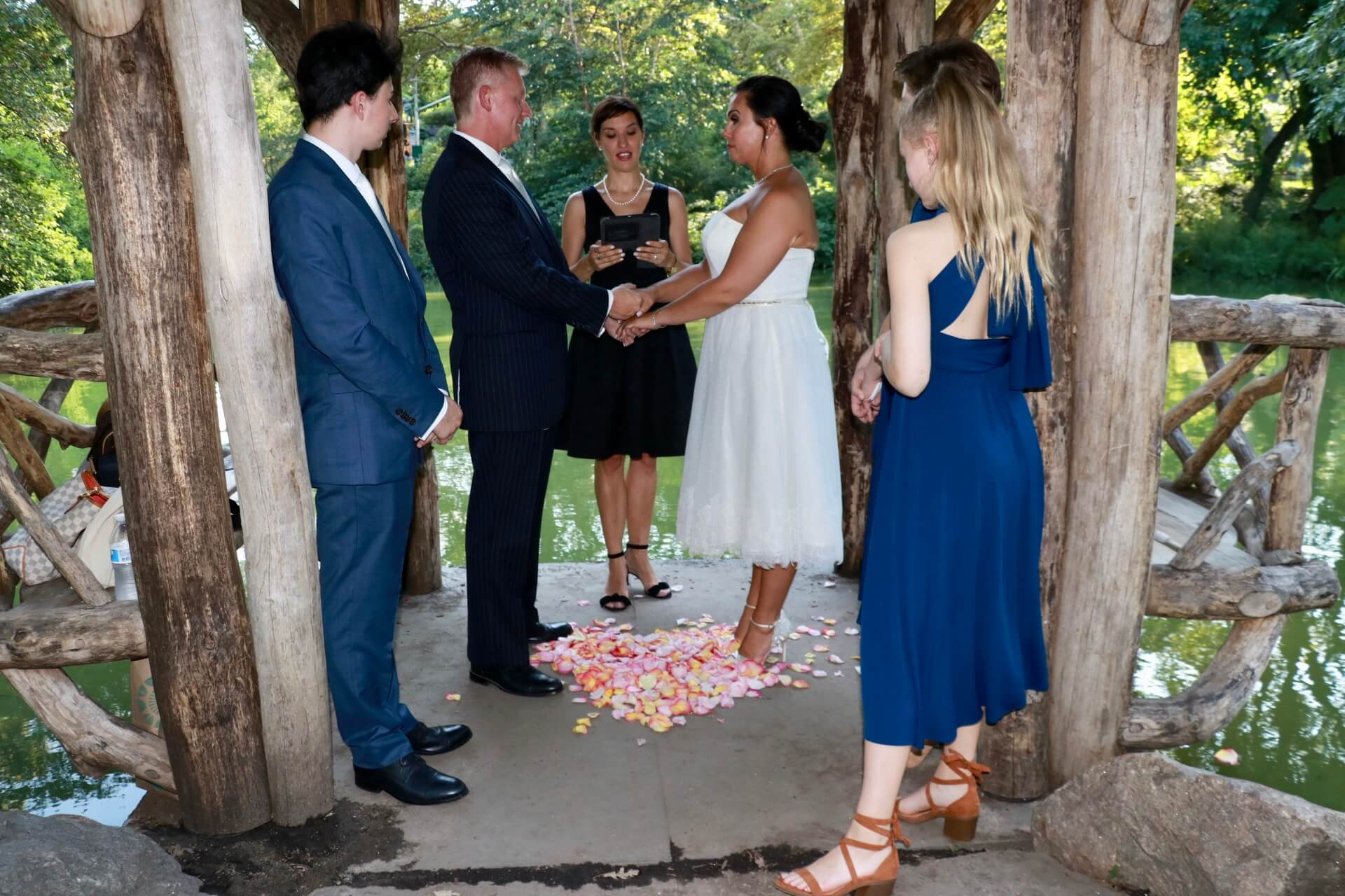 Bilingual Wedding Ceremony in Wagner Cove in Central Park with Veronica Moya